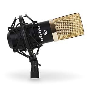 Auna MIC-900BG Kondensator-Mikrofon USB Mikrofon Studio (Niere , für PC / MAC, inkl. Mikrofonspinne und Stativ Adapter) schwarz-gold