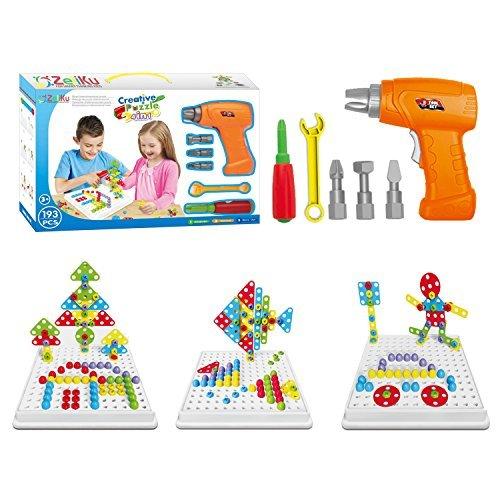 nd Bohr-Spielzeug Bau-Spielzeug-Set - 193 Stück mit Brettspiel STEM Baulernen kreatives Spielset für 3, 4, 5+ Jahre alt Jungs & Mädchen Bestes Spielzeug Geschenk für Kinder im Alter von 3 - 6 & älter (Geschenke 4 Jungs)