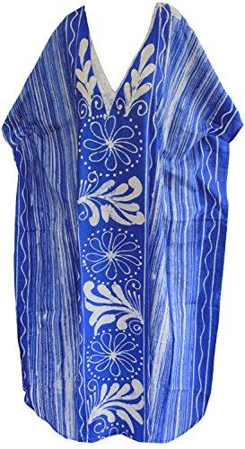 La Leela robe de vêtements de nuit pour femmes lâche 100% beachwear de coton à long kimono caftan casual Bleu