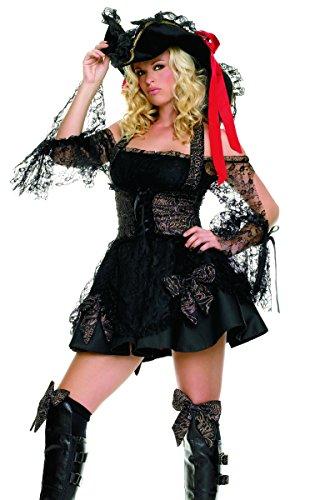 Leg Avenue 83226 - Schwarze Piratin Karnevalskostüm für Damen - schwarz/gold (Small)