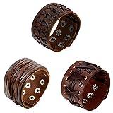 Oidea Herren Leder Armband Set (3PCS ), Punk Rock Stil 3.5cm-4.1cm Breite Groß geflochtene handgefertigt Manschette Kordelkette Druckknopf Armreifen, Legierung, braun silber