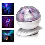 Colorful Diamonds Projector Night Light Aurora Star Projector Light with 8 Colorful Light Modes, Bulit in Speaker and USB Audio Cable for for Baby Nursery, Adults and Kids Bedroom, Living Room (white)