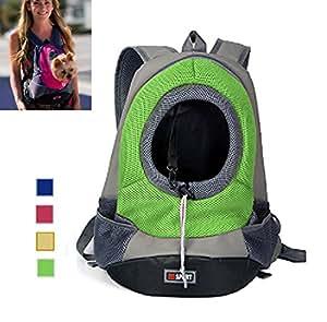 AsiaLONG - Zainetto per trasportare il cane, con oblò frontale e rete, spallacci con cinghie doppie, adatto a cani di taglia medio-piccola, per viaggi ed escursioni
