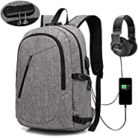 Anti-Theft Backpack, URMI Business Laptop Backpack with USB Charging Port Earphone Jack with Lock Water Resistant Bag Fits 15.6 inch Computer Notebook Daypack Rucksack for Work School College Student