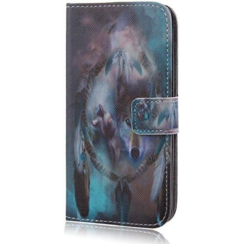 LG G3 S Hülle, LG G3 Mini Hülle, ISAKEN LG G3 S Hülle Muster, Handy Case Cover Tasche for LG G3 S, Bunte Retro Muster Druck Flip PU Leder Tasche Case Hülle im Bookstyle mit Standfunktion Kartenfächer mit Weich TPU Innere Hülle Case für LG G3 Mini / G3 S / LG G3 Beat- Campanula Feather Wolf