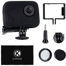 CamKix Parabrezza e Sostegno per la tua Telecamera Compatible con GoPro Camera - Riduce il Rumore del Vento per una Registrazione Audio Ottimale - Per GoPro HERO4, HERO3+ e HERO3 - Proteggi Lente Filtro UV, Coperchio Lente e Panno di Pulizia (Kit Parabrezza e Supporto, GoPro HERO4 HERO3+ e HERO3)