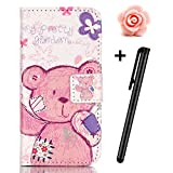 LG K7/K8 Case,LG K7/K8 Flip Case,TOYYM PU Leather Wallet Case with Card Slots Magnetic Closure,3D Pink Bear Pattern Design Full Body Protection Holster Case with Folio Cover for LG K7/K8 +1x Flowr Dust Plug+1x Stylus