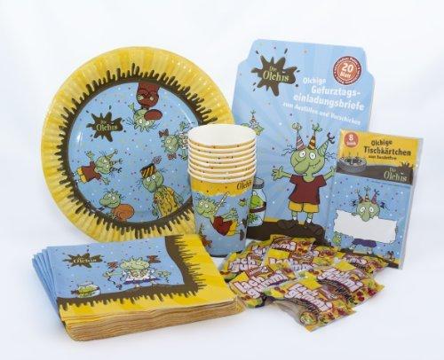 Preisvergleich Produktbild Die Olchis Geburtstagsset mit Einladungskarten, Tischkarten, Pappteller, Pappbecher, Servietten und Lachgummis / 72-teiliges Party Set für Kindergeburtstag