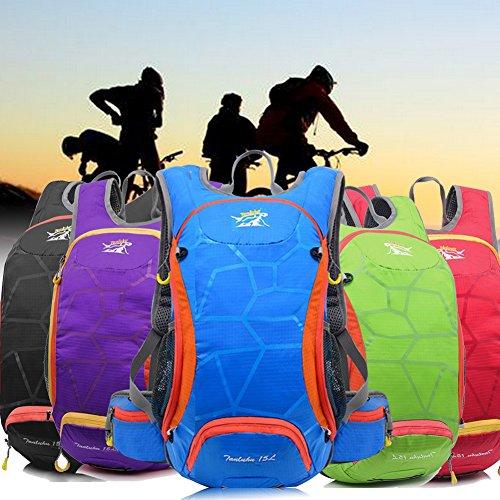 Fahrrad Rucksack Trinkblase Tasche 15L Riding Mountain Fahrrad Wasserdichte Tasche mit Ein Netz Halt ein Helm Blau