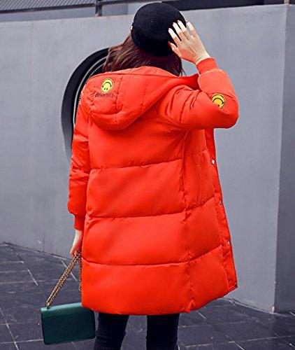 Smile YKK Manteau Hiver Femme Parka Manche Longue Veste à Capuche Zippé Casual Elégante Orange