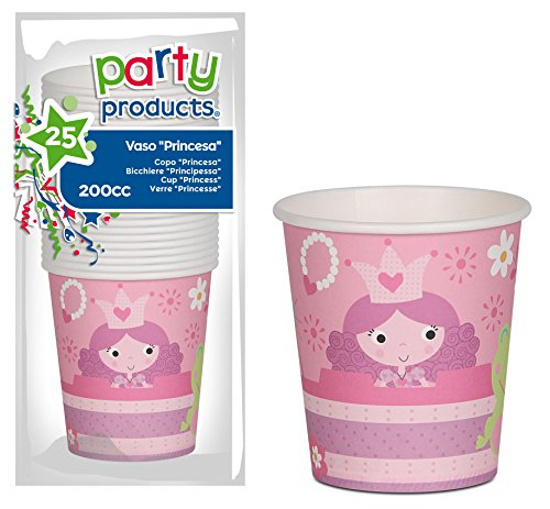 Unbekannt Party - Pack 25 Becher Pappe, Prinzessinnen (68235)