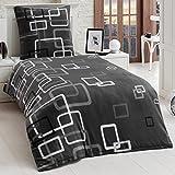 Dreamhome24 2 Teilige Microfaser Bettwäsche Bettbezug 135x200 155x220 80x80 Grau Boxes, Größe:155 x 220 cm