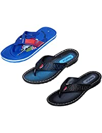 IndiWeaves Men Flip Flop House Slipper And Sandal-Blue/Black/Blue- Pack Of 3 Pairs