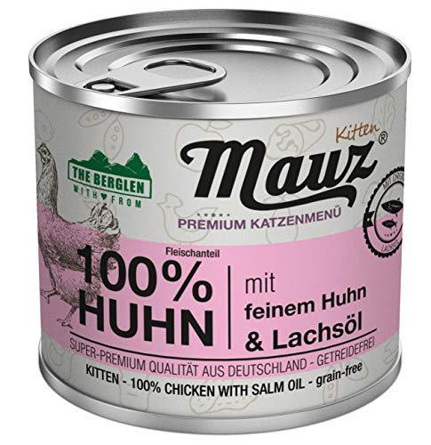 MAUZ & WAUZ Katzenfutter Nassfutter 100{bc6dcb203065cccbc0d81f1cd28df4780df95d8248b6a96d8ac161a960773381} Feines Huhn mit Lachsöl - (1,2 kg   6er VE)