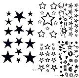 yyyDL tatouages temporaires Belle Lune Noire Ciel Étoiles Tatouage Temporaire Bande...