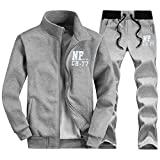 walk-leader da uomo con stampa Zip Up giacca e pantaloni casual tute sportive Set Grey Large