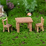 Homyl Harz Ornamente Micro-landschaft Landschaft Innendekorationen Bonsai Landschaft Ornamente Mini Figur Set - Stuhl Tisch, 3 Stücke - 5