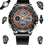 WLH Sports Watch Casual Waterproof Double Display Multi-Function Quartz Watch PU Strap,Orange