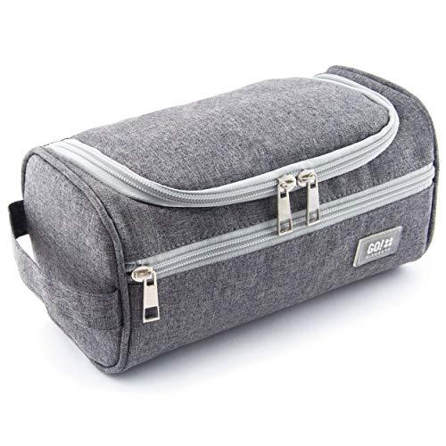 GO!elements Beauty Case uomo & donna | borsa da toilette per uomini & donne appesi | borsa cosmetica uomo donna per valigie & bagaglio a mano | borsa da viaggio per lavaggio, Color:Grigio