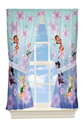 Disney Fairies, Tinkerbell Kinderzimmer Gardine, 2 Schals mit Raffhalter aus USA