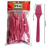 Fuji Brand Cosmetic Make Up Disposable Plastic 2.5 Spatulas Skin Care Facial Cream Mask Spatula (Pink Color) (100pcs in a Fuji Brand Package) by Fuji Brand