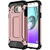 Skitic Etui Housse Coque Anti Choc pour Samsung Galaxy A3 2016 (SM-A310F), 2 en 1 Hybride Armour Case TPU + PC Incassable Back Cover Rigide Coque de Protection pour Samsung Galaxy A3 2016 Smartphone - Or Rose