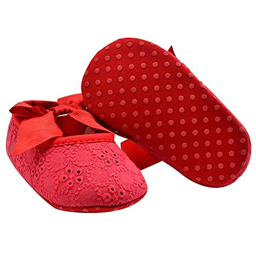 Highdas Semelles Souples Fille Chaussures Bébé Coton Premières Walkers Papillon-noeud Chaussures First Sole Enfants rouge