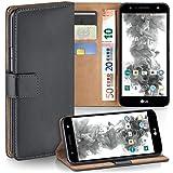 moex LG X Power 2 | Hülle Dunkel-Grau mit Karten-Fach 360° Book Klapp-Hülle Handytasche Kunst-Leder Handyhülle für LG X Power 2 Case Flip Cover Schutzhülle Tasche