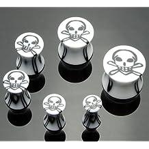 Emeco Skull totenk POF Acrylic Saddle Plug d'oreille Blanc ou Noir ea152/151