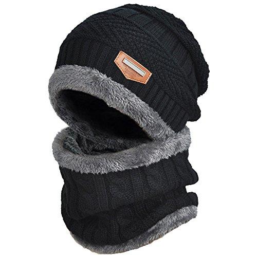 DUSISHIDAN Set Beanie Mütze mit Loop Schal, 2 in1 Strickmütze Kaschmir Mütze und Loop Gestrickt Schal, Unisex Einheitsgröße Winter Set - Schwarz