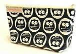 Stiftmäppchen aus Wachstuch - SÜSSE EULEN DUNKELBLAU - mit Reißverschluss - auch für Schminke / Make-Up / Kosmetik / Kabel - Geschenk Weihnachten Geburtstag Muttertag Ostern - Federmappe - Federmäppchen - Stifte-Etui - Mäppchen / Tasche für Stifte - KAWAII