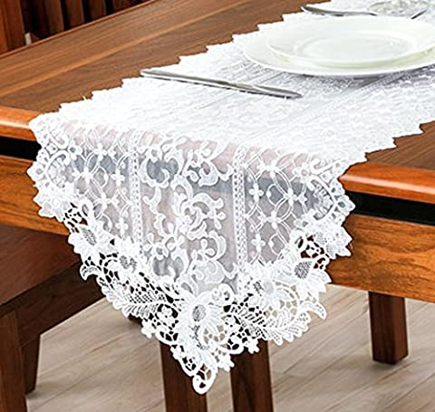 Tina Decorative Embroidered Hollow Out Lace Table Runner Scarf White,