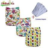 ohbabyka Wiederverwendbare Unisex Baby Tuch Pocket Windeln All in One mit 1weichen Tuch inneren