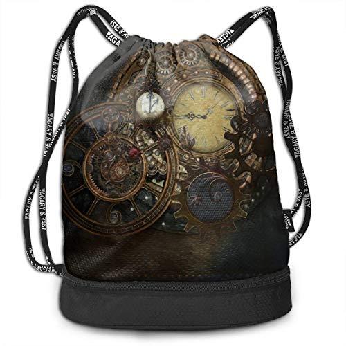 ewtretr Turnbeutel Hipster Sporttaschen Steampunk Clocks Multifunctional Bundle Backpack Shoulder Bag for Men and Women
