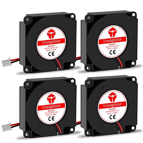Usongshine Lüfter 3D Drucker Lüfter TurBo Kühler Kühlung Ventilator 24V DC 2 Pin, 40 x 40 x 10 mm 3D Druckerzubehör (4 Stück mit Schrauben)