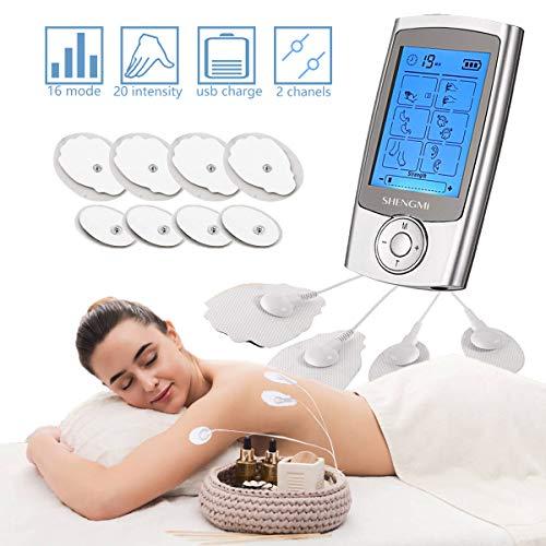 Moonssy tens elettrostimolatore muscolare elettrostimolatore professionale per massaggiatore potenziamento muscolare e addominali, ridurre dolore in schiena,collo,gambe e nervo