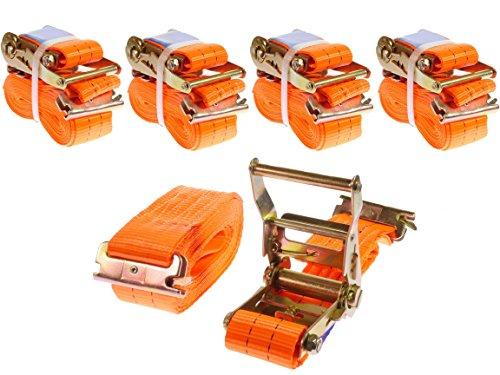 INDUSTRIE PLANET 4 x 2000kg daN 5m 2t Spanngurte für Ankerschiene mit Ratsche Anker Kombi Schiene zweiteilig orange Ratschengurt 50mm Langlochschiene Zurrschiene