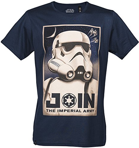 GOZOO Star Wars Classic T-shirt Uomo Join The Imperial Army Blu L