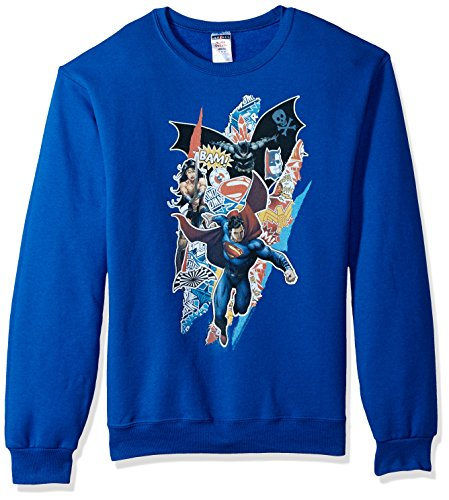 Trevco Herren Batman Vs. Superman Ripped Trio Crewneck Sweatshirt, Royal Blue, Groß -