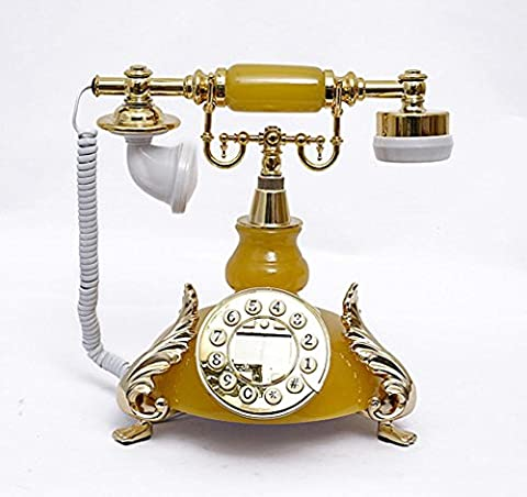 Xiuxiandianju Continental Antique Old Fashioned Faux Jade Corded Classic Desktop Push Button Dial Desk Telephone Phone Living Room Office Decor Great Gifts , yellow