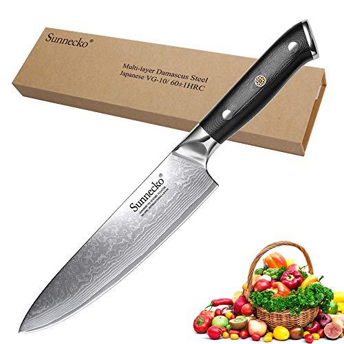 Kochmesser 20cm - Sunnecko Scharfes Damascus Küchenmesser 8inch Profi Japanisches Messer 73Lagen Anti Korrosion