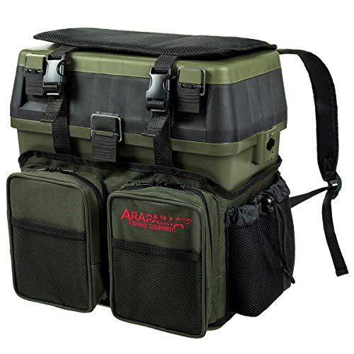 Arapaima Fishing Equipment® Caja de Pesca | Bolsa con Compartimentos | Caja Asiento | Mochila para Almacenamiento - Verde