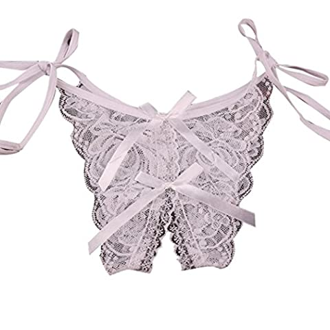 Women Sexy Lingerie,Ouneed Charming Sexy Lace Hollow Bow-knot Pants (White)