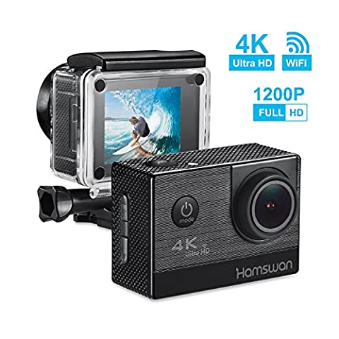 HAMSWAN 4K Sports Action Camera Full HD Camcorder WiFi Waterproof Camera Waterproof DV Camcorder 170 Degree Wide-Angle Lens with Rechargeable Battery, Including Full Accessories Kits and Waterproof Case
