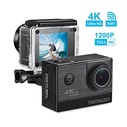 HAMSWAN Cámara Deportiva Impermeable Wifi 4K 1050mAh HD 64GB Pantalla 2 Pulgadas Hasta Agua 30M Lente 170 Grados En Resolución Diferente De Imagen y Video Con Multiaccesorios