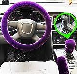 Set 3 pezzi Coprivolante peluche Coperchio freno a mano in lana sintetica Fodera per auto Copridivano per auto Coprisedili per auto Accessori interni (purple for Automatic)