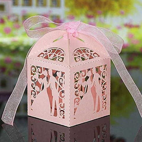 syalex (TM) a mano taglio laser sposi Candy scatole con nastri Wedding, scatole regalo caramelle dolci accessori bianco rosa 20pcs Pink