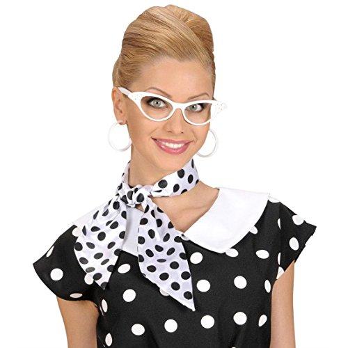 NET TOYS Rockabilly Brille 50er Jahre Gläser weiß Strass Diva Partybrille Rock`n`Roll Katzenaugen Spaßbrille 60er Jahre Retro Kultbrille Cat Eye Retro-Brille (Cat Eye Brillen Der 50er Jahre Kostüm)