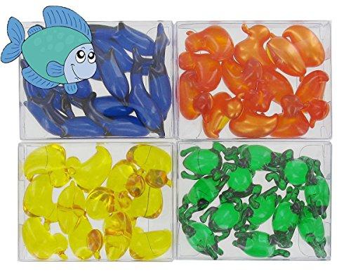 Lot de 4 cajas de 12 perlas de aceite de baño fantasías - animales acuáticos