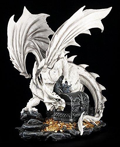 Große weiße Drachen Figur bewacht Schatztruhe - 2